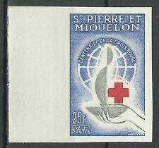 St Pierre & Miquelon Croix Rouge Red Cross Rotkreuz Non Dentele Imperf ** 1963