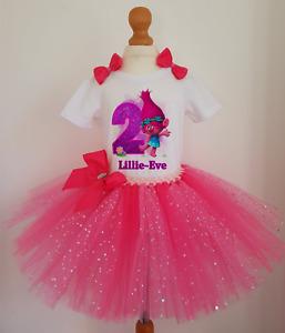 Girls Trolls Poppy Birthday tutu dress set Girls Birthday Outfit Costume