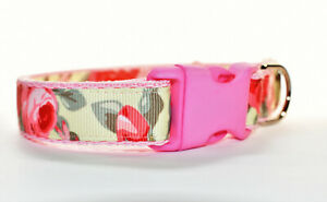 Pink Roses On Yellow Adjustable handmade dog puppy collar for girl small medium