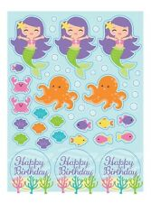 Mermaid Friends Stickers Under the Sea Happy Birthday Party Favors Ocean Bubbles