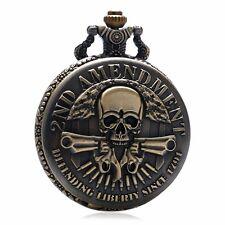 2ND AMENDMENT Necklace Bronze Skull Quartz Pocket Watch Pendant White Face Gift