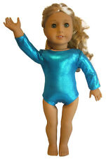 "Metallic Teal Gymnastics Gymnastic Leotard for 18"" American Girl Doll Clothes"