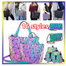 Hot Geometric Lingge Luminous Women Backpack Purse Holographic Colorful Daypacks