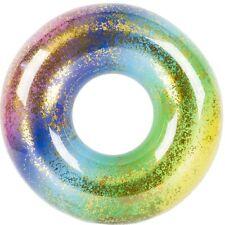 Anillo relleno de Arco Iris SWIM Brillo Inflable equipos de Agua Piscina Flotador diversión Balsa