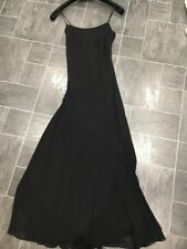 PER UNA M&S BLACK SIZE 8 FULL LENGTH LINED MAXI DRESS WITH CORSET STYLE BACK