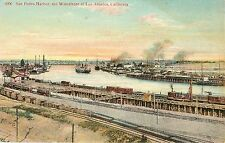 Vintage Postcard San Pedro Harbor on the waterfront of Los Angeles California