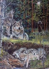 Julie Kramer Cole Lullaby Canvas signed LE COA mint Wolf Camouflage Wolves