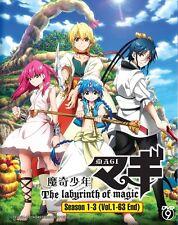 DVD Anime MAGI The Labyrinth Of Magic Season 1-3 Complete Series (1-63) Eng Sub