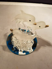 Dolphin Blown Glass Figurine Frosted Swimming Green Wave Mirror New Item