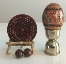 Vintage Wooden Ukrainian Pysanky Display - 1 Large Egg/2Small/Plate - Unique!