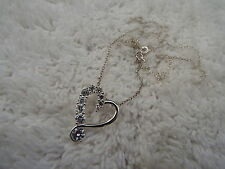 Sterling Silver Crystal Heart Pendant Necklace (B3)