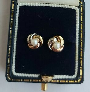 A Pair Of Pearl Earrings In 9ct Yellow White & Rose Gold