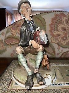G CALLE WORKS OF ART ITALY OLD MAN MINSTREL PORCELAIN FIGURINE