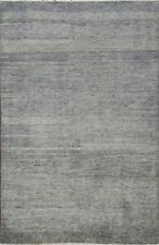 Modern 4'x6' Solid Gray Blue Gabbeh Kashkoli Oriental Area Rug Hand-knotted Wool
