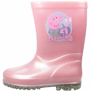 GIRLS NEW PEPPA PIG UNICORN WELLIES WELLY WELLINGTON RAIN BOOTS PINK SIZE 5 -10