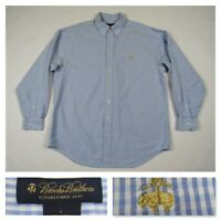 Brooks Brothers 1818 Mens Blue Check Button Front Sheep Logo Dress Shirt Large