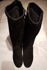 Geox Respira Black Suede Mid Calf Boots Size 39