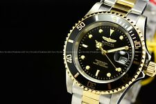 New Invicta 40mm Pro Diver Coin Edge Two Tone Black Dial Stainless Steel Watch