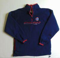VTG Lee Sport Men M Chicago Cubs Fleece Jacket 1/4 Zip Baseball MLB Big Logo