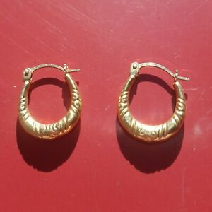Small Creole Earrings Hollow 9ct Gold Hinged Boho