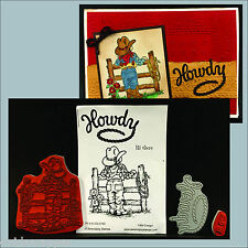 Bundle - Cowgirl rubber stamp & Die set - includes Howdy die,Hi there,& cowgirl