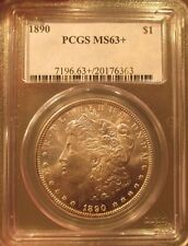 1890 Morgan Silver Dollar PCGS MS 63+ Plus Proof Like Deep Mirror Luster Coin