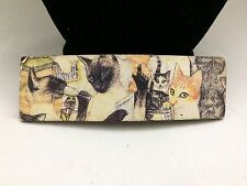 UNIQUE MADE IN FRANCE KITTY CAT'S TRANSFER PICTURE SIPPING WINE HAIR BARRETTE