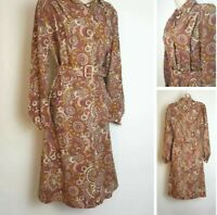 Vintage 70's 12 Red Long Sleeve Belted Midi Cotton Collar Circle Print Dress