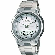 New Casio Men's Telememo Silver Dial Resin Sports with Metal Band AW80D-7AV