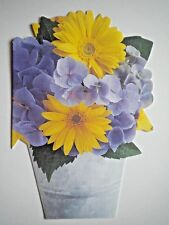 VINTAGE SHAPED YELLOW DAISIES & HYDRANGEAS BIRTHDAY GREETING CARD by Regal