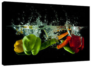 Canvas Print Red Green Yellow Pepper Water Splash Abstract Wall Art