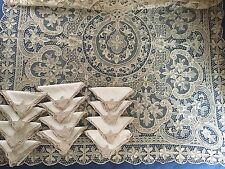 Large vintage handmade needle lace tablecloth 12 napkins