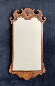 Chippendale Style Mirror ~ Burl Walnut ~ Shell & Scalloped Crest