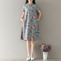 Retro Womens Floral Printed Loose A-Line Maxi Dresses Casual Summer Qipao Cotton