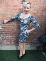 MOTEL GREY & BLACK ANIMAL PRINT BODYCON STRETCH WIGGLE SUMMER PARTY DRESS ~ UK 8