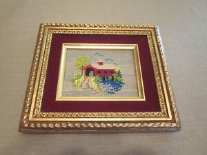 CREWEL EMBRIODERED NEEDLEWORK RIVER HOUSE ART HANGINGS 8.5 x 7.5 INCHES
