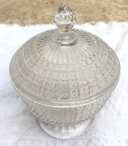 Vintage Very Rare Unique Clear Glass Carnival Pot With Lid Japan- Mint