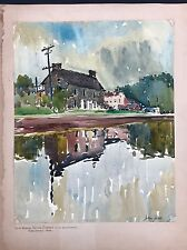 1933 Pennsylvania Impressionist Stone House Architectural W/C Signed John J Dull
