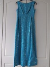 LADIES Blanes couture VINTAGE 60s LONG turquoise gold EVENING DRESS 16 fits UK12