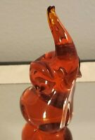 "Vintage Glass Red Elephant Figurine 4"""