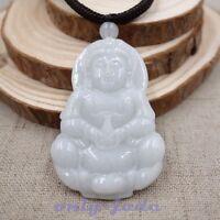 Chinese 100% Natural Grade A Green Jadeite Jade Pendant Hand-carved Kwan-yin V45