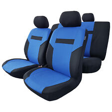 11pcs Full Set Blue Black Polyester Car Seat Covers For Honda Mazda VW Nissan