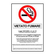 TABELLA IN ALLUMINIO 'VIETATO FUMARE CON NORMA'