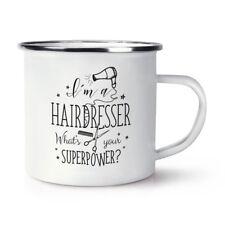 Soy una peluquería? cuál es su superpotencia Retro Esmalte Taza Taza-Divertido Superhéroe
