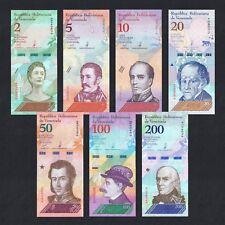 SET 2018 VENEZUELA 2 5 10 20 50 100 200 BOLIVARES P-NEW UNC > COLOURFUL SET