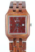 Bewell reloj de madera mujer fecha 30x33mm Sándalo producto a regalo genial con