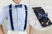 Boy Baby Kids Navy Blue Stars Cotton Bow Tie Suspenders Braces Set 1-8 Years Old