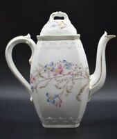 Bawo & Dotter Elite Limoges France Tea Pot Teapot Blue Pink Tan Flowers Leaves