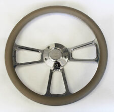 """Bronco F100 F150 F250 F350 Steering Wheel 14"""" Grey and Billet Ford Center Cap"""