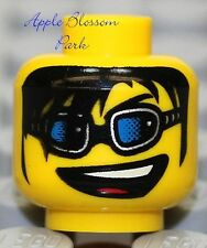 NEW Lego City Police Agents MINIFIG HEAD Boy w/Sunglasses Smile & Black Hair